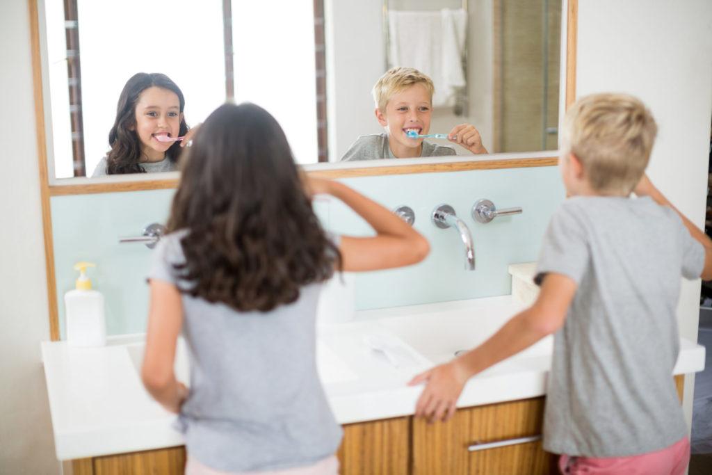 Kids Brushing Their Teeth Together